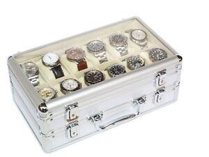 5c6a7fb2d La imagen se está cargando Vitrina-caja-maletin-guarda-24-relojes-en- aluminio