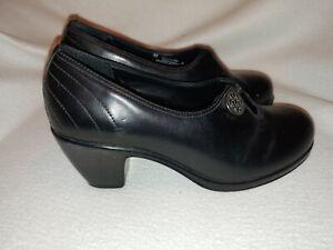 Women-Dansko-Black-Leather-Button-Elastic-Front-Heel-Shoe-Size-38