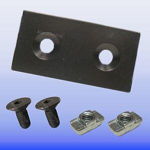 Verbinderplatte 30x60 Stahl schwarz zur Verbindung von Aluprofilen