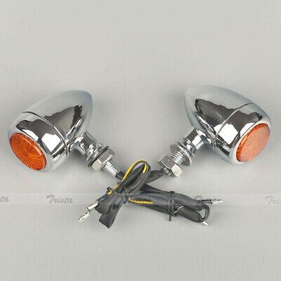 2x16 Amber LED Motorcycle Black Bullet Turn Signals Light Smoke Lens 12V #C2