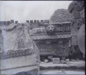 Libano Baalbek Ruines Tempio Leone Archeologia,Negativo Foto Stereo Placca Lente