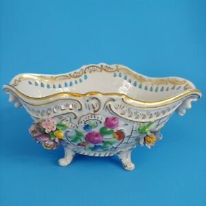 Dresden Reticulated Handled & Footed Centerpiece Bowl Gold & Applied Flowers