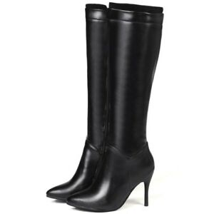 Ladies-Stiletto-Heels-Pointy-Toe-Side-Zipper-Boots-Combat-Knee-High-Boots-Shoes