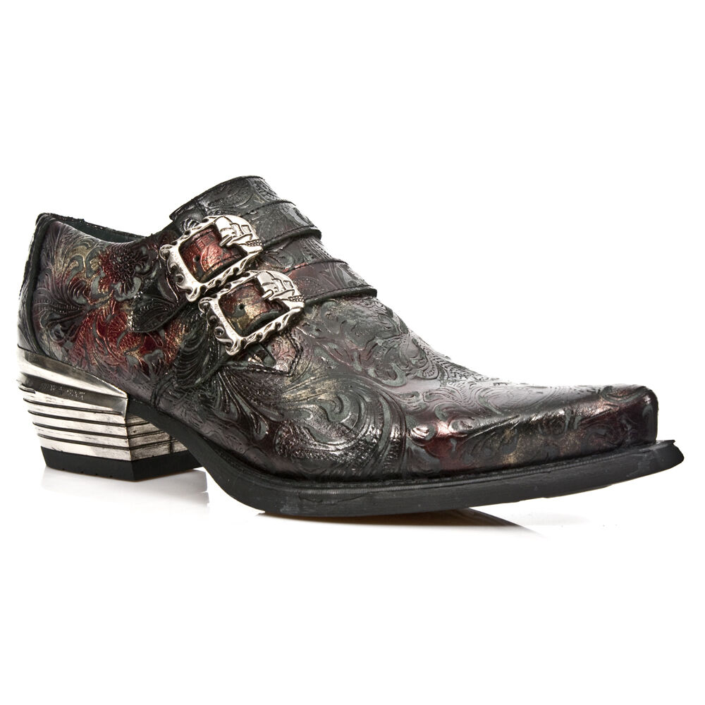 New Negro Rock 7960-S5 Embossed Vintage Negro New Rojo Leather Buckle Steel Heel Zapatos 647cb5