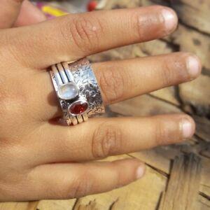 Moonstone-Garnet-Ring-Solid-925-Sterling-Silver-Spinner-Ring-Handmade-Ring