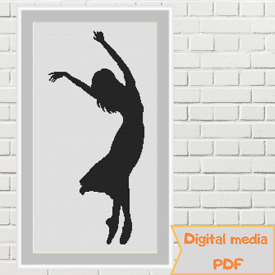 Dancing girl ballroom woman in a long dress monochrome cross stitch pattern pdf