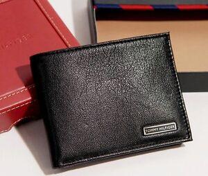 Tommy-Hilfiger-Men-039-s-Bifold-Black-Leather-Passcase-Wallet-Black