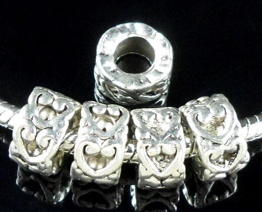 30 Tibetan Silver Heart Charm Beads Fit Bracelet ZN142