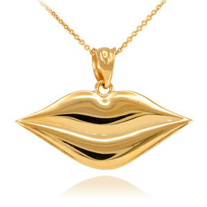 Polished Solid 10k White Gold Lady Love Kissing Lips Pendant Necklace