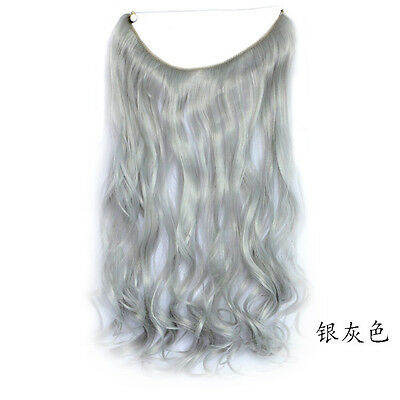 1×Natural Wavy Hair Extensions Synthetic Hair Thick Fish Line Wire Headband New