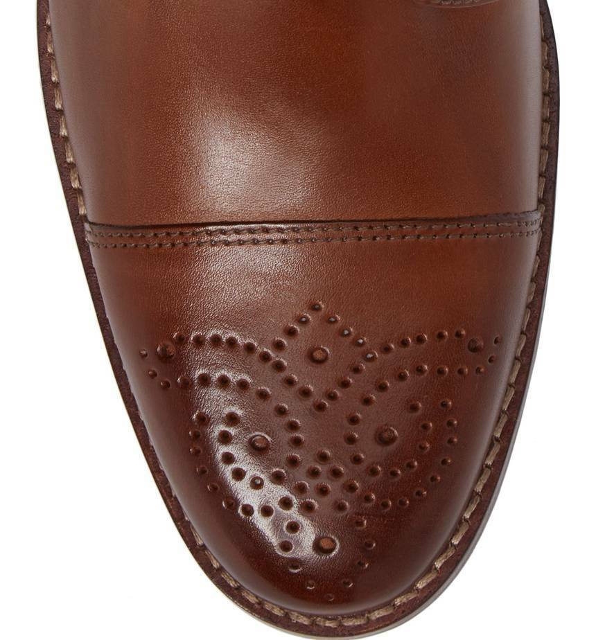Men's Johnston & & & Murphy Garner Cap Toe Boots, 20-9830 Size 8.5 Tan Calfskin 179414