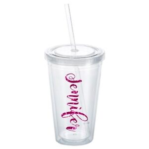Details About Personalized Tumbler Glitter Name Cup 16 Oz Double Wall Bpa Free With Straw