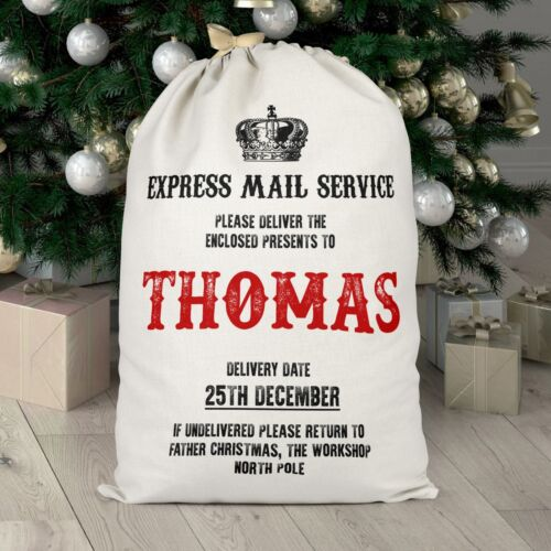 Express Mail Service Christmas Sack Personalised Santa Delivery Boy Girl Stockin