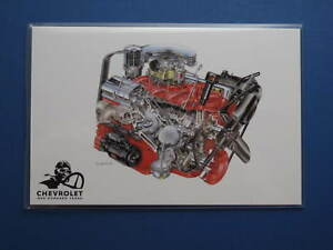 1955 Chevrolet 265 Cu In V8 Engine Cutaway Color Illustration Press Photo 0118