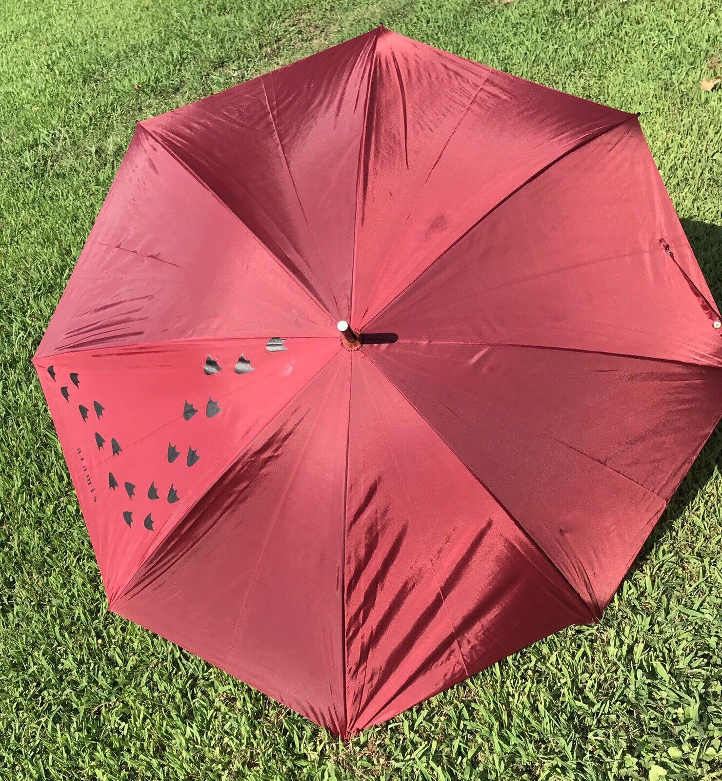 "Aramis Fowl Weather Friend Umbrella Duck Head Walking Stick Cane Red 37"" Long"