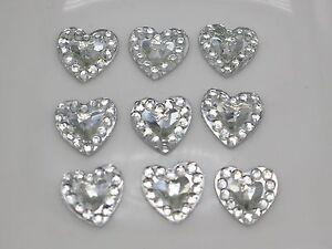 500-Clear-Acrylic-Flatback-Heart-Rhinestone-Gems-8X8mm-Embellishments