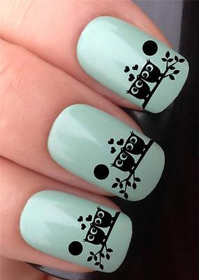 WATER NAIL TRANSFERS MR & MRS LOVEBIRDS CUTE OWLS ON BRANCH DECALS STICKERS *314