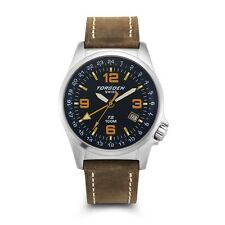 New Torgoen Swiss T05 Men's Blue Face 42mm Case GMT Pilot Quartz Watch T05107