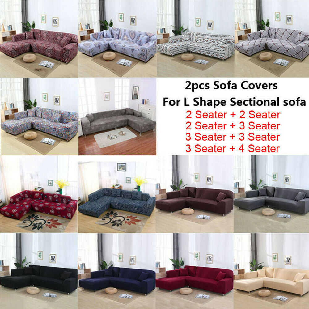 2pcs Stretch Sofa Covers Corner Couch Slipcover for L Shape