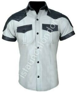 Mens-Hot-Genuine-Real-Light-Grey-Sheep-LEATHER-Police-Uniform-Shirt-BLUF-Gay