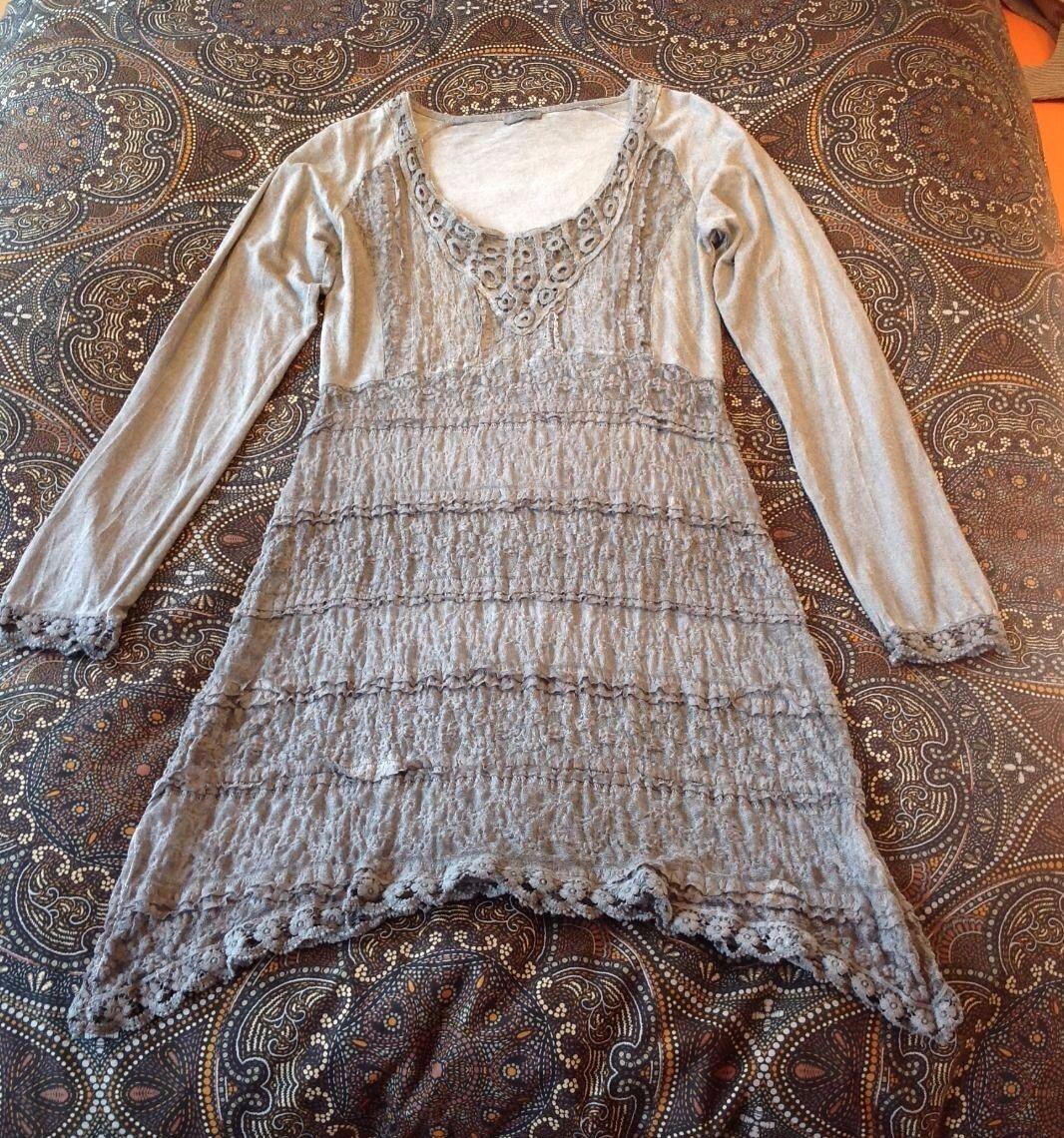 Troty Damen Kleid mit Zipfel mittelgrau Größe  36