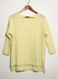 Women-039-s-Yellow-ZARA-Relaxed-Fit-Waffle-Knit-Mohair-Jumper