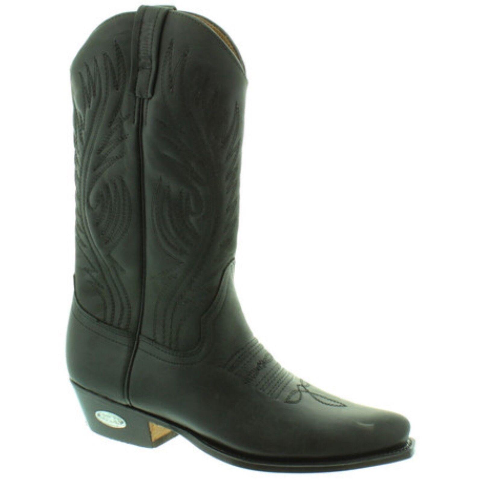 Loblan 194 Negro Cuero ceroso botas de vaquero hecho a mano Clásico Unisex Occidental 0194