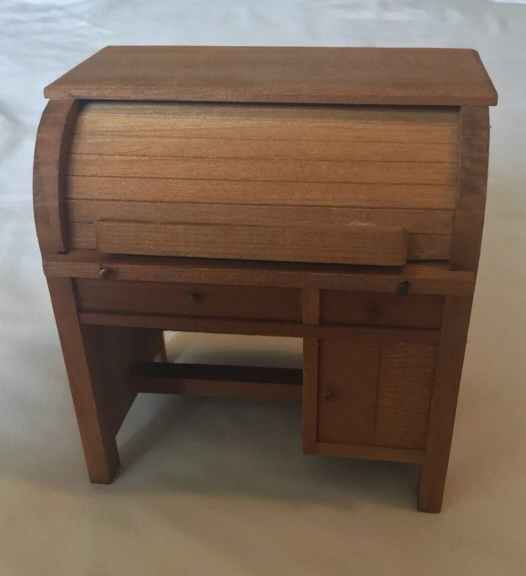 VTG SHACKMAN Miniature Dollhaus Möbel Holzen Roll top Desk