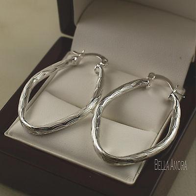 925 Sterling Silver Textured Multiple Oval Links Dangle Earrings