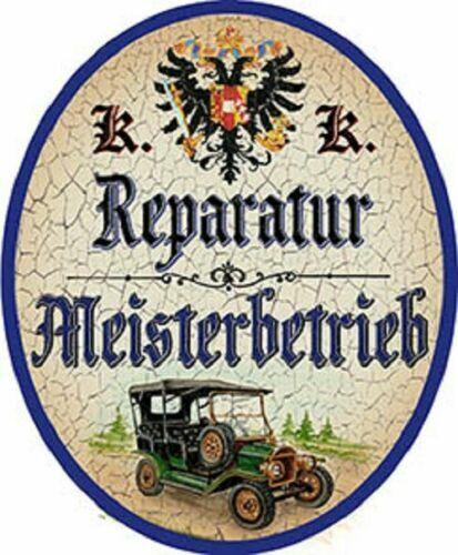 """Nostalgieschild /""""Reparatur Meisterbetrieb/"""" KFZ Werkstatt Auto Schild"""
