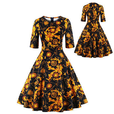 Plus Size Vintage 50s Retro Rockabilly Swing Pinup Formal Evening Party Dress