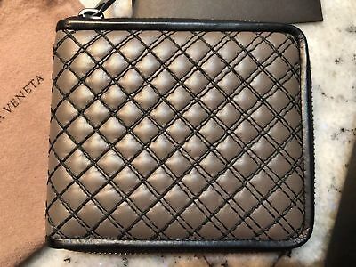 Bottega Veneta Zip Around Wallet 473011 Vanh 3 Soft Grid Taupe Leather New Ovp Ebay