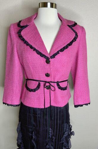 Kay Unger Pink & Black Tweed Blazer Silk Polka Dot
