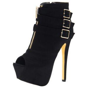 Black Gladiator Stivaletti Platform con in High Super aperta Heel punta zeppa Womens UfqOR