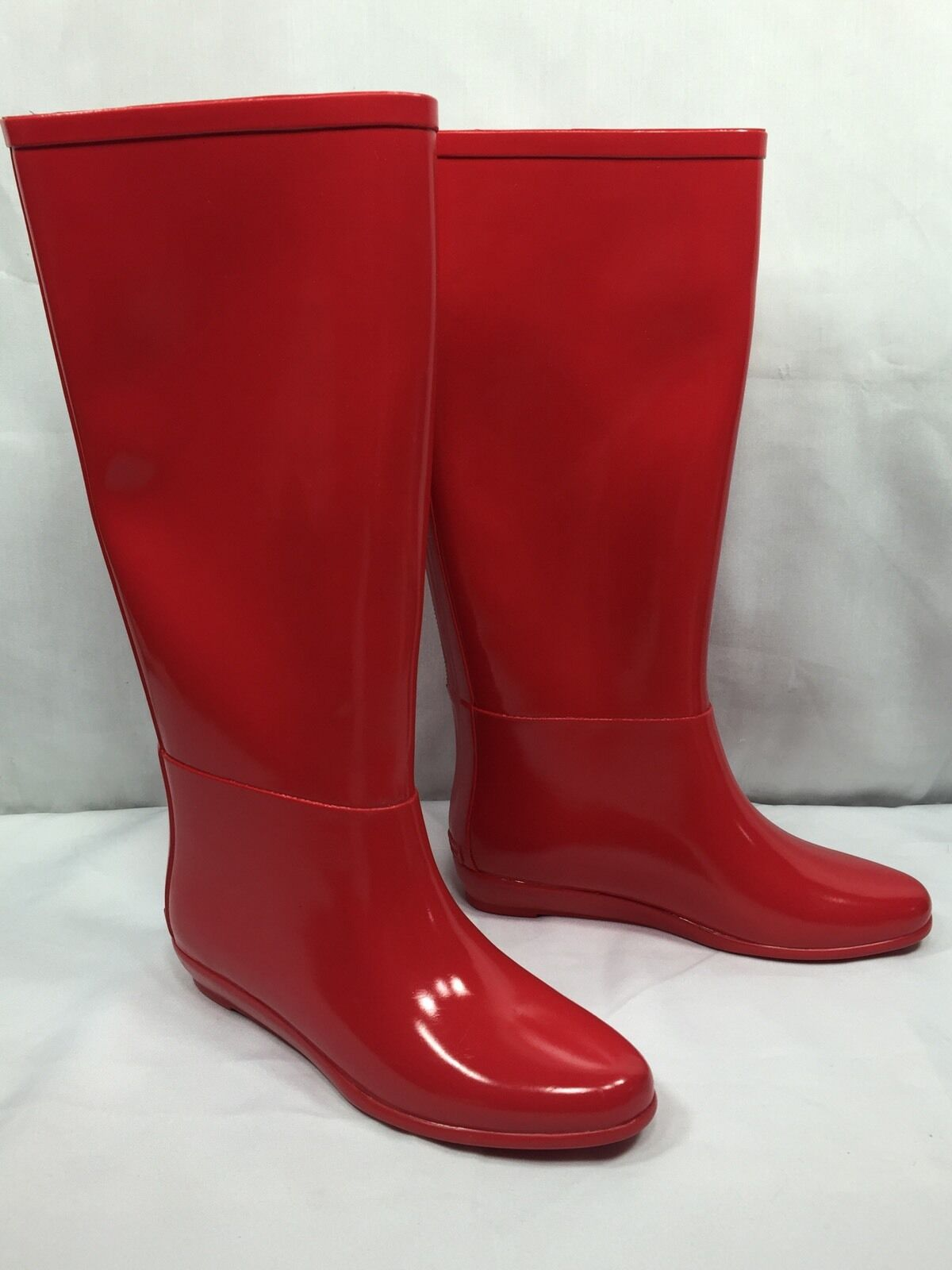 NEW NEW NEW  200 Loeffler Randall Tall Back Zip Shiny Red Rain Boots Wellies Womens Sz 6 97c877
