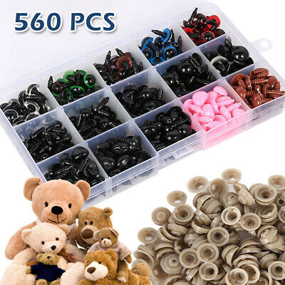 Plush Toys Crafts Teddy Bear Doll Plastic Safety Eyes and Noses 560 Pcs Colorful Safety Eyes Noses with Washers for Soft Toy