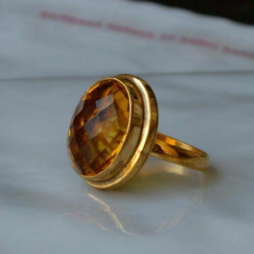 Checker Cut Madeira Citrine Gemstone 925 Sterling Silver Handmade Gift Ring