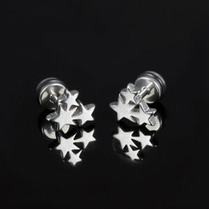Star-Silver-Black-Yellow-Gold-GP-Surgical-Stainless-Steel-Stud-Earrings-Gift