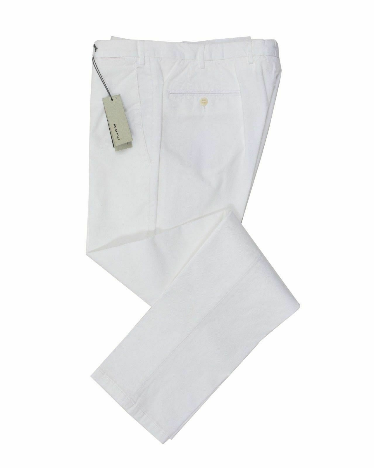 BOGLIOLI White Slim-Fit Stretch Cotton Pants  Made in