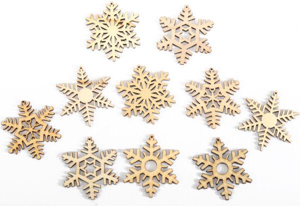 10 X Assortiti Natale Fiocco Di Neve In Legno, Decorazione Matrimonio Abbellimento Forma Adatto Per Uomini, Donne E Bambini