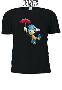 DISNEY-IL-GRILLO-PARLANTE-E-OMBRELLO-PINOCCHIO-Uomini-Donne-Unisex-T-shirt-590