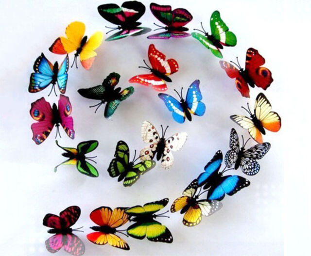 12x Lot 3D Colorful Artificial Butterflies Home Decorations with Magnet 7CM