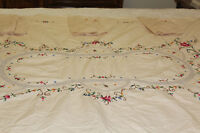 """Vintage Hand Cross-Stitched Table Cloth with 6 Napkins 63"""" X 48"""""""