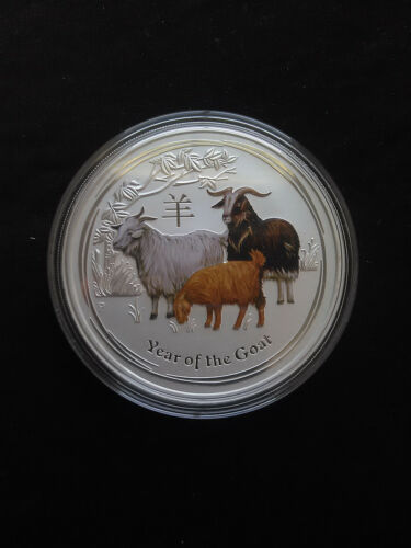 2015 2oz .999 Fine Silver Australian Year Of The Goat Colored Coin 3439 mintage