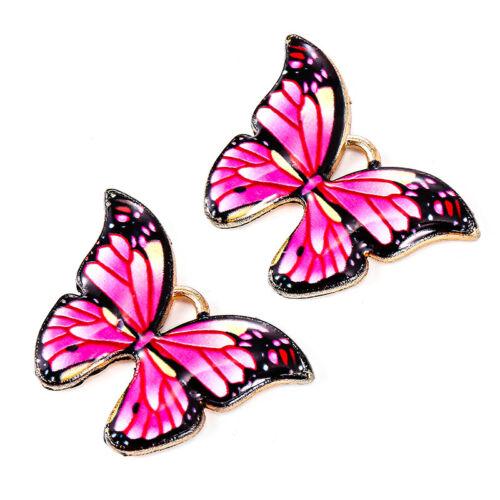 10Pc Butterfly Pendants Colorful Enamel Charm Animal Findings DIY Jewelry Making