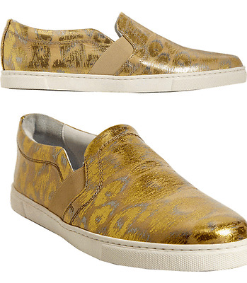 $495 LANVIN Metallic Leather Loafers Slip on Sneaker Flat Shoe Moccasins 36- 6