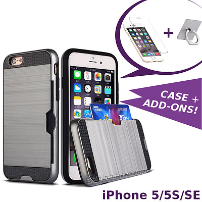 iPhone 5/5S/SE Case - Hybrid Shockproof Cover Credit Card Slot +Screen Protector