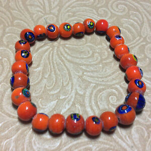 11mm Orange with Hand Painted Eyes Porcelain Round Beads, Strand of 25