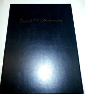 NEW-FONT-RECORD-OF-ACHIEVEMENT-PVC-A4-FOLDER-IN-BLACK-LEATHER-LOOK-GOLD-PRINT