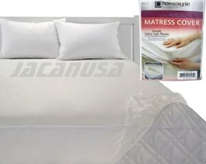 Fitted-Vinyl-Mattress-Protector-Lightweight-Plastic-Bed-Cover-Four-Size